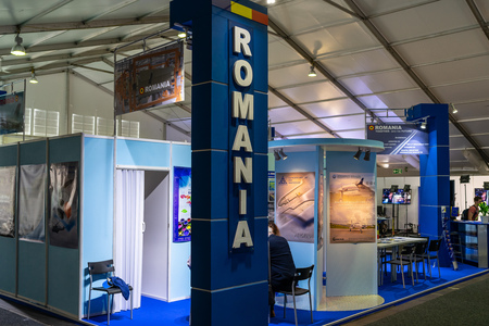 BERLIN - APRIL 27, 2018: Pavilion Defense and Security, stand of companies from Romania. Exhibition ILA Berlin Air Show 2018. Editorial