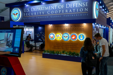 BERLIN - APRIL 27, 2018: Pavilion Defense and Security, stand of U.S. Department of Defense Security Cooperation. Exhibition ILA Berlin Air Show 2018. Editorial