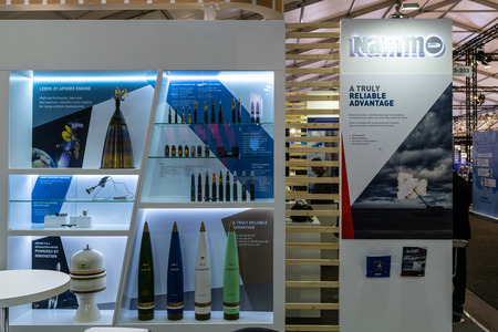 BERLIN - APRIL 27, 2018: Pavilion Defense and Security, stand of Nammo - NorwegianFinnish aerospace and defense group. Exhibition ILA Berlin Air Show 2018.