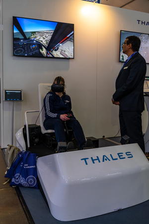 BERLIN - APRIL 27, 2018: Defense and Security pavilion, stand of Thales Group, a French company that designs and builds electrical systems for the aerospace, defense, and security markets. Exhibition ILA Berlin Air Show 2018.