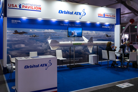 BERLIN - APRIL 27, 2018: Pavilion Defense and Security, stand of Orbital ATK Inc. American aerospace manufacturer and defense industry company. Exhibition ILA Berlin Air Show 2018. Editorial