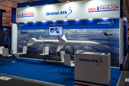 BERLIN - APRIL 27, 2018: Pavilion Defense and Security, stand of Orbital ATK Inc. American aerospace manufacturer and defense industry company. Exhibition ILA Berlin Air Show 2018. 報道画像