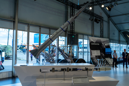 BERLIN - APRIL 27, 2018: Pavilion Defense and Security. Meteor (missile) is an active radar guided beyond-visual-range air-to-air missile (BVRAAM) being developed by MBDA. Exhibition ILA Berlin Air Show 2018