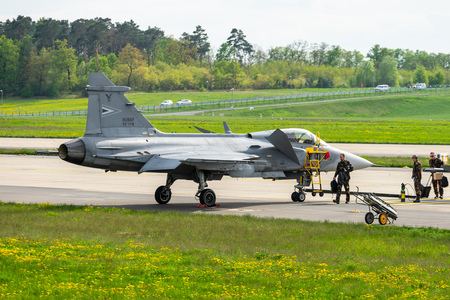 BERLIN - APRIL 27, 2018: Fighter, attack and reconnaissance aircraft Saab JAS-39 Gripen. Exhibition ILA Berlin Air Show 2018.