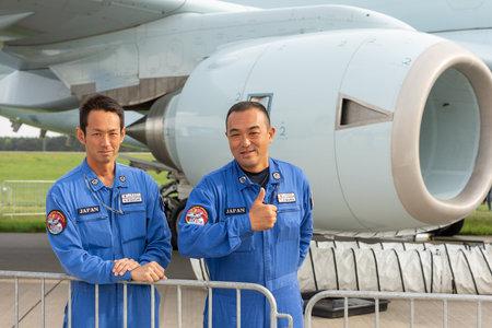 BERLIN - APRIL 27, 2018: The pilots of Japan Maritime Self-Defense Force. Exhibition ILA Berlin Air Show 2018.