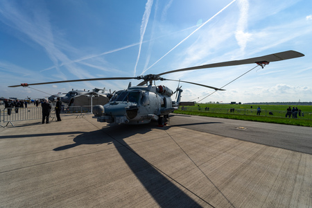 BERLIN - APRIL 27, 2018: The medium-lift utility helicopter Sikorsky UH-60 Black Hawk on the airfield. Exhibition ILA Berlin Air Show 2018. Editöryel