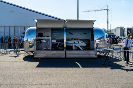 BERLIN - APRIL 28, 2018: Skeldar V-200 is a medium-range VTOL (Vertical Take Off and Landing) UAV (Unmanned Aerial Vehicle) developed by the Swedish aerospace company Saab. Exhibition ILA Berlin Air S