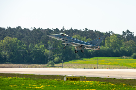 BERLIN, GERMANY - APRIL 28, 2018: Landing of the multirole fighter Eurofighter Typhoon. Exhibition ILA Berlin Air Show 2018