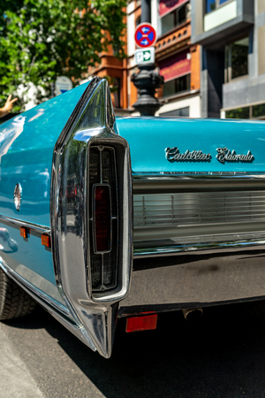 BERLIN - JUNE 09, 2018: Fragment of a full-size luxury car Cadillac Eldorado convertible (Fifth generation). Rear view. Classic Days Berlin 2018.