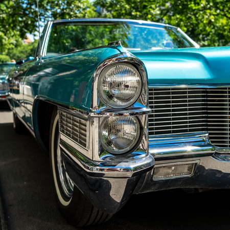 BERLIN - JUNE 09, 2018: Fragment of a full-size luxury car Cadillac Eldorado convertible (Fifth generation). Front view. Classic Days Berlin 2018. Editorial
