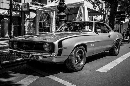 BERLIN - JUNE 09, 2018: Muscle car Chevrolet Camaro, 1969. Black and white. Classic Days Berlin 2018.