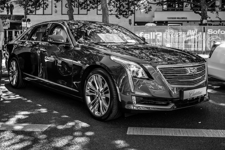 BERLIN - JUNE 09, 2018: Full-size luxury car Cadillac CT6, 2018. Black and white. Classic Days Berlin 2018.