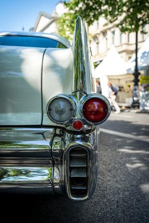 BERLIN - JUNE 09, 2018: Rear stoplights of a full-size car Chevrolet Bel Air, 1957. Close-up. Classic Days Berlin 2018.