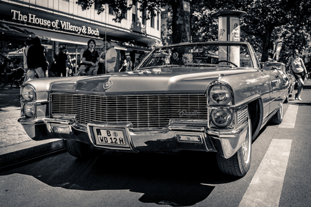 BERLIN - JUNE 09, 2018: Full-size luxury car Cadillac Eldorado convertible (Fifth generation). Black and white. Classic Days Berlin 2018. Editorial