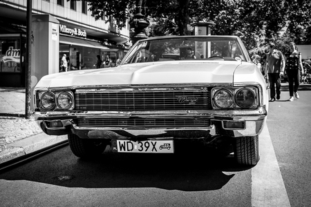 BERLIN - JUNE 09, 2018: Full-size car Chevrolet Impala (Fourth generation). Black and white. Classic Days Berlin 2018.