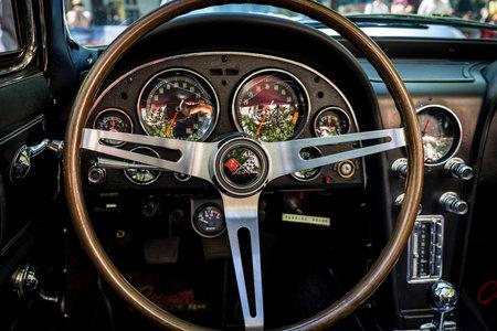 BERLIN - JUNE 09, 2018: Interior of a sports car Chevrolet Corvette Sting Ray (C2). Classic Days Berlin 2018.