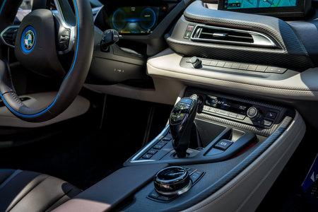 BERLIN - JUNE 09, 2018: Showroom. Interior of a plug-in hybrid sports car BMW i8 Roadster.