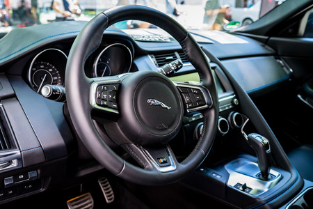 BERLIN - JUNE 09, 2018: Interior of a compact luxury crossover SUV Jaguar F-Pace R, 2018. Classic Days Berlin 2018.