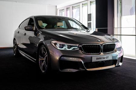 BERLIN - JUNE 09, 2018: Showroom. Mid-size luxury car BMW 6 Series (G32).