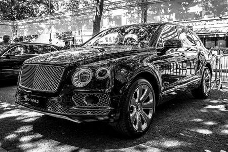BERLIN - JUNE 09, 2018: Mid-size luxury crossover SUV Bentley Bentayga. Black and white. Classic Days Berlin 2018.