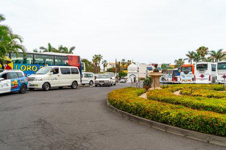 PUERTO DE LA CRUZ, SPAIN - JULY 19, 2018: Parking in front of the main entrance to the largest zoo and amusement park - Loro Parque. Editorial