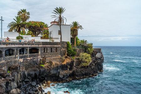PUERTO DE LA CRUZ, SPAIN - JULY 19, 2018: Quay of a popular tourist city on the island of Tenerife, Canary Islands.