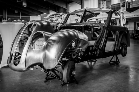 PAAREN IM GLIEN, GERMANY - MAY 19, 2018: The restored body of the BMW 328, 1937. Black and white. Die Oldtimer Show 2018. Editorial