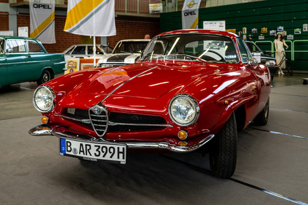 PAAREN IM GLIEN, GERMANY - MAY 19, 2018: Sports car Alfa Romeo Giulietta Sprint Speciale. Coachbuilder Bertone. Die Oldtimer Show 2018.