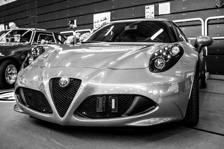 PAAREN IM GLIEN, GERMANY - MAY 19, 2018: Sports car Alfa Romeo 4C Spider (Type 960). Black and white. Die Oldtimer Show 2018.