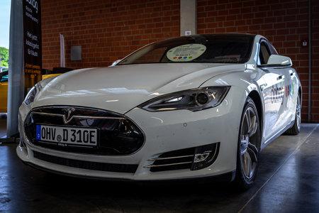 PAAREN IM GLIEN, GERMANY - MAY 19, 2018: The mid-size luxury all-electric five-door liftback car Tesla Model S. Die Oldtimer Show 2018. Editorial