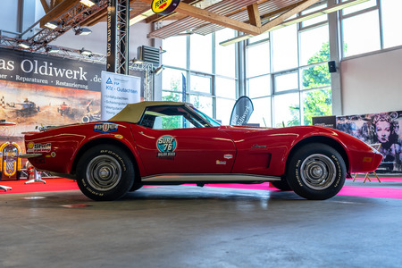 PAAREN IM GLIEN, GERMANY - MAY 19, 2018: The sports car Chevrolet Corvette Stingray (C3), 1973. Die Oldtimer Show 2018. Editorial