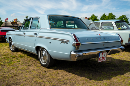 PAAREN IM GLIEN, GERMANY - MAY 19, 2018: Compact car Plymouth Valiant 200, 1966. Rear view. Die Oldtimer Show 2018.