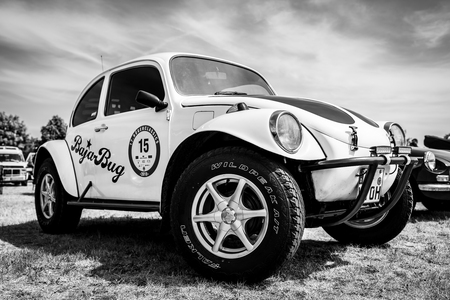 PAAREN IM GLIEN, GERMANY - MAY 19, 2018: A Baja Bug is an original Volkswagen Beetle modified to operate off-road. Black and white. Die Oldtimer Show 2018.