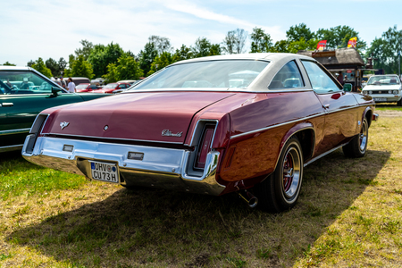 PAAREN IM GLIEN, GERMANY - MAY 19, 2018: Mid-size car Oldsmobile Cutlass S, 1973. rear view. Die Oldtimer Show 2018.