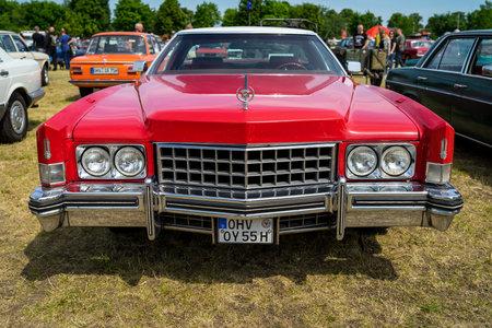 PAAREN IM GLIEN, GERMANY - MAY 19, 2018: Full-size luxury car Cadillac Eldorado, 1975. Die Oldtimer Show 2018.