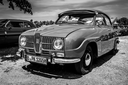 PAAREN IM GLIEN, GERMANY - MAY 19, 2018: Compact car Saab 96 V4, 1967. Black and white. Die Oldtimer Show 2018.