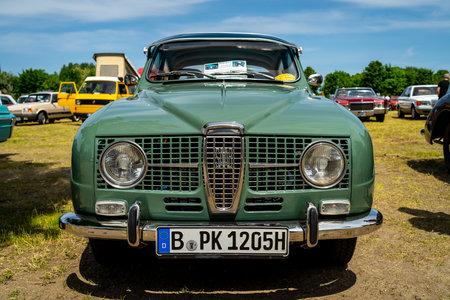 PAAREN IM GLIEN, GERMANY - MAY 19, 2018: Compact car Saab 96 V4, 1967. Die Oldtimer Show 2018. 写真素材 - 114452628
