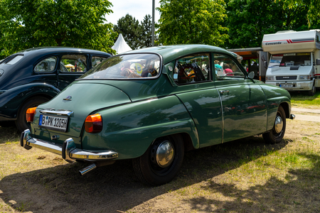 PAAREN IM GLIEN, GERMANY - MAY 19, 2018: Compact car Saab 96 V4, 1967. Rear view. Die Oldtimer Show 2018.