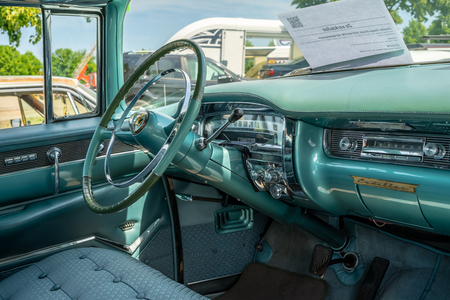 PAAREN IM GLIEN, GERMANY - MAY 19, 2018: Interior of a full-size luxury car Cadillac Series 62 Coupe de Ville, 1955. Die Oldtimer Show 2018.