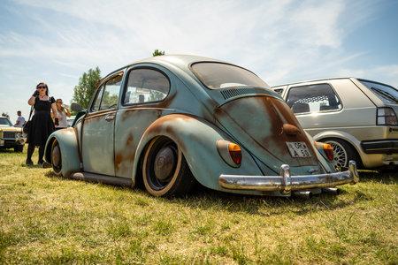 PAAREN IM GLIEN, GERMANY - MAY 19, 2018: Iconic car Volkswagen Beetle Custom. Rear view. Die Oldtimer Show 2018.