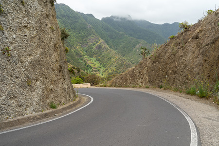 Road (Hairpin turn) of the mountains of the northern part of Tenerife. Canary Islands. Spain.