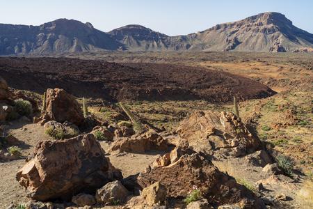 The lava fields of Las Canadas caldera of Teide volcano. Tenerife. Canary Islands. Spain. View from the observation deck - Mirador del Tabonal Negro. Reklamní fotografie