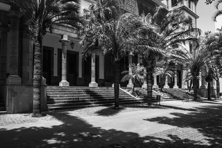 City Court (Tribunal Superior de Justicia de Canarias). Santa Cruz de Tenerife. Canary Islands. Spain. Black and white.