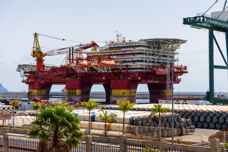 SANTA CRUZ, CANARY ISLANDS, SPAIN - JULY 28, 2018: Platform Floatel Reliance in the seaport. Floatel Reliance is a semi-submersible accommodation and construction support vessel. Editorial