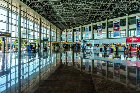 SANTA CRUZ, CANARY ISLANDS, SPAIN - JULY 28, 2018: Interior of a modern long-distance bus station.