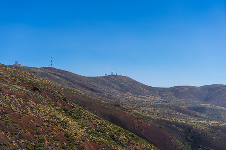 View of the valley of Teide volcano. In the background is the Teide Observatory. Viewpoint: Mirador La Tarta. Tenerife. Canary Islands. Spain. Stock Photo