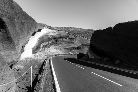 La Tarta del Teide - geological formation of solidified lava flows. Tenerife. Canary Islands. Spain. Black and white.