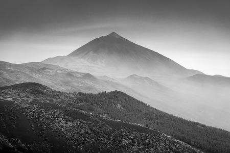 Vew of the Teide volcano. Viewpoint: Mirador La Tarta. Canary Islands. Tenerife. Spain. Black and white. Stock Photo