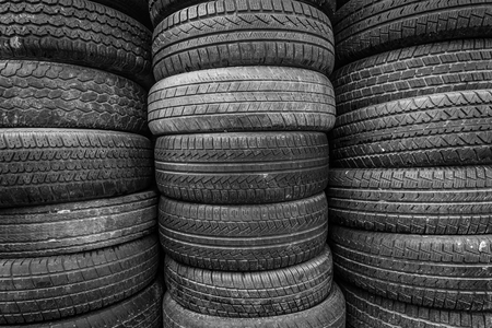 Old and used car tires.