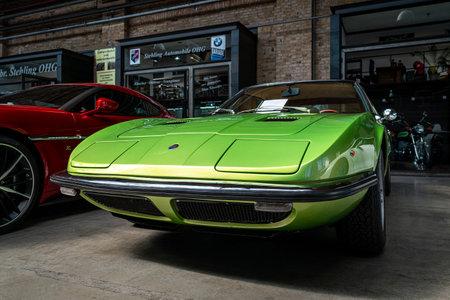 BERLIN - MAY 11, 2019: Sports car Maserati Indy (Tipo AM 116), 1970. 32th Berlin-Brandenburg Oldtimer Day.